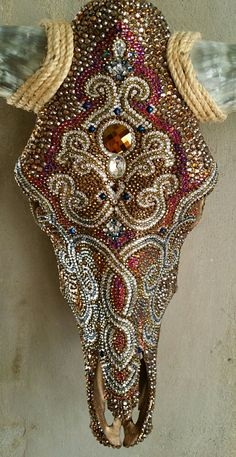 Mosaic Skull Steer Encrusted with Swarovski crystals by Cassie Edmonds Mosaics, LLC