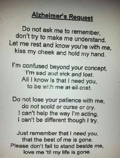 Poem on Dementia - for all of us with loved ones suffering