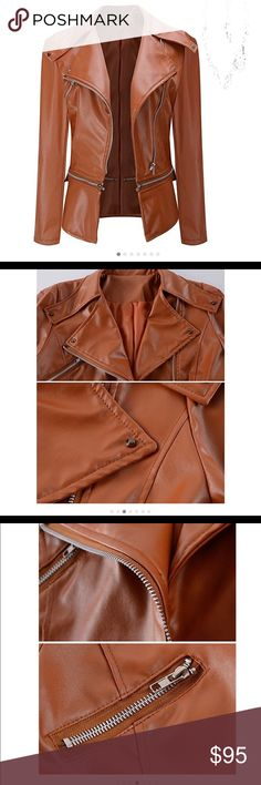 Sitengle/ Leather Jacket Slim Punk Bomber Casual Sitengle/ Leather Jacket Slim Punk Bomber Casual Zipper Short Coat/  Color Brown /Size S- XXL/ Materials Leather/ ****Size Information in the last pic**** Brand new with tags.Buy now or Best offer !!! Jackets & Coats Trench Coats