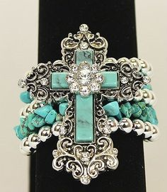 Bracelet Western Rhinestone Cross Turquoise Blue Flower Stretch Cowgirl Bling