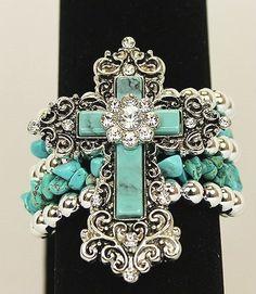 Bracelet Western Rhinestone Cross Turquoise Blue Flower Stretch Cowgirl Bling