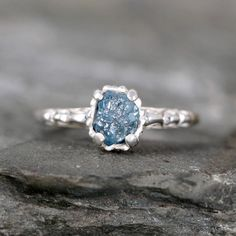 Filigree Style Blue Diamond Ring - Raw Uncut Rough Blue Diamond Engagement Rings - Made in Canada - Sterling Silver Vintage Style Rings