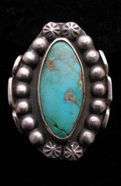 VINTAGE NAVAHO OLD PAWN TURQUOISE SILVER RING