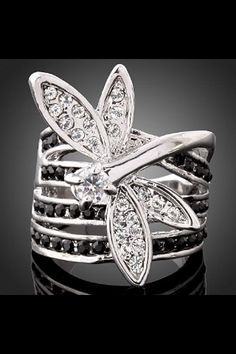 Ladies Lovely Dragonfly Austrian Crystal White Gold GP Ring US Size 6 7 8 9 in Jewelry & Watches, Fashion Jewelry, Rings I Love Jewelry, Gold Jewelry, Jewelry Rings, Jewelry Accessories, Jewelry Design, Jewelry Watches, Jewlery, Jewelry Art, Ladies Jewelry
