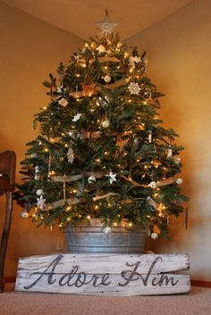 Image result for Primitive Country Tin Galvanized Fresh Cut Christmas Trees Glitter Ornament