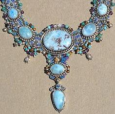 Larimar Big Macrame Necklace