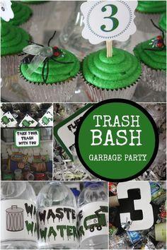 garbage trash bash boy birthday party ideas