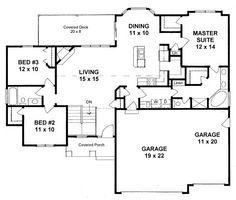 Plan #1460 - 3 Bedroom Ranch, Walk-in Pantry, 3 Car Garage, Open Kitchen Bar