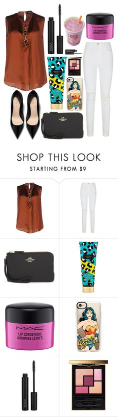"""Untitled #12144"" by ohnadine ❤ liked on Polyvore featuring Dsquared2, J Brand, Coach, Victoria's Secret, MAC Cosmetics, Casetify and Yves Saint Laurent"