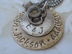Personalized Hand Stamped Antiqued Brass and Sterling by gomommy, $45.00