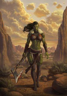 Fantasy Races, Fantasy Rpg, Fantasy Girl, Fantasy Artwork, Dark Fantasy, Female Orc, Fantasy Female Warrior, Orc Warrior, Fantasy Character Design