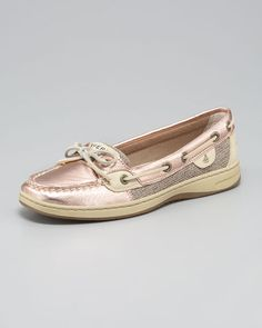 Metallic rose gold Sperrys.