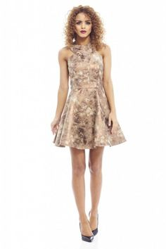 c2b5adf6244 AX Paris Womens Metallic Cut In Neck Plain Kick Out Skater DressGold   Read  more at the image link.