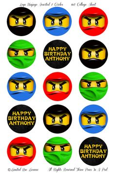 PERSONALIZED Lego Ninjago Assorted Ninjas Printable 1 Inch Cupcake Toppers. $4.00, via Etsy.
