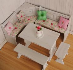Dollhouse Miniature Kitchen Dining Nook Table And Bench Set With Pink And Green Cushions