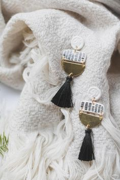 ✋Handmade and handpainted Tassel statement earrings.✋  Mid lightweight due to chosen materials, perfect for every occasion. Each earring pair is packed in a branded box and shipped within another post box for safety.  All pieces are unique so they may slightly vary from the model in the