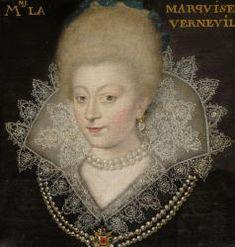 Catherine Henriette de Balzac d'Entragues, Marquise de Verneuil (1579-1633) was the favourite mistress of Henry IV of France after Gabrielle d'Estrées died -    josfamilyhistory....