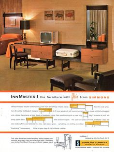 "The ad for Simmons's Innmaster I line of hotel furniture manages to make fake Danish modern hotel rooms look glam and cool and James Bond-y. I wish everything I owned was made of ""stain-defying Parkwood laminate."" It'd sure make laundry-day simpler."