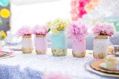 Glitter mason jar blooms from a Magical Unicorn Birthday Party on Kara's Party Ideas | KarasPartyIdeas.com (32)