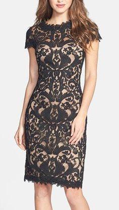 Tadashi Shoji Illusion Yoke Lace Sheath Dress #lace #dress
