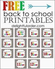 Delightful Order: Free Back to School Printables Back To School Printables, School Labels, Preschool Printables, 1st Day Of School, Beginning Of The School Year, School Teacher, School Days, Back To School Pictures, School Photos