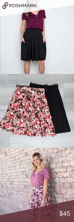 Savannah Skirt with pockets - Oxblood Rose Floral Not only does this skirt have style and flare, it's got pockets!!! Features an elastic waistband, pockets and is made of buttery soft legging material! 😍 Amelia James Skirts Midi