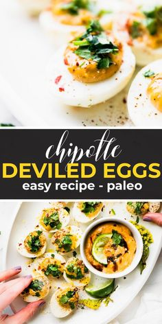 Easy #Paleo Deviled Eggs with Homemade Chipotle Mayo! This Tex-Mex inspired deviled eggs recipe is the perfect healthy appetizer with a kick of spice! #KETO #appetizer #eggs #whole30