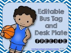 This cute set features Whimsy Workshop's super cute  sports figures on desk plates that can be edited! Each desk plate has numbers 1-20 as well as the entire alphabet for easy reference.  The bus tags, also editable, can indicate whether students walk, ride, or take the bus.