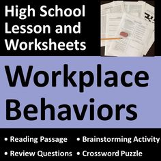 Workplace behaviors lesson teaches professional job behaviors needed for successful employment using real-life examples, skills, scenarios, and questions. Great for CTE, vocational, life skills, business, and work skills students. Contains 5 printable and digital pages plus answer keys.