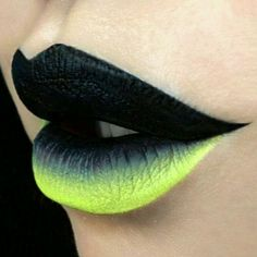 Black & Neon Green Gradient Lip Art                                                                                                                                                                                 More