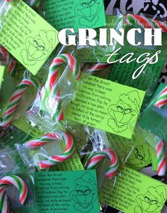 Download these Grinch tags, print on your own green paper, and attach candy canes. Easy and inexpensive teacher or class gift.