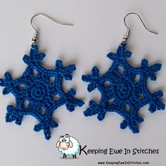 """The Royal Blue Snowflake Earrings are a beautiful deep blue. I live in Kansas City, and even when it isn't baseball season… """"Forever Royal."""" And for those of you that aren't sports fans…. can you really go wrong with royal blue?  Crochet with 100% Egyptian cotton and hypoallergenic Stainless Steel earring hooks.  Royal Blue Snowflake Earrings are light and flexible. You will barely feel them as you go about your day. Looking great and not feeling weighed down? What more can you ask for?"""
