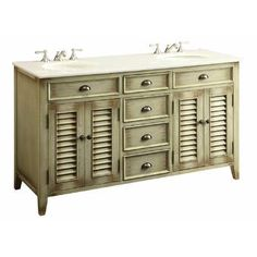 The plantation-inspired look of this Cottage/Beach style sink cabinet will add casual elegance to any bathroom decor. Classic cottage design details like shutter-style doors, this bathroom vanity offers a look that will create a relaxing retreat in a Bathroom Vanity Store, Double Sink Bathroom, Double Sink Vanity, Beige Bathroom, Single Bathroom Vanity, Vanity Sink, Bathroom Vanities, Bathrooms, Bathroom Ideas