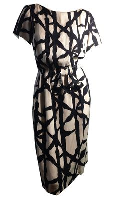 Black and White Graphic Print Crinkle Rayon Dress w/ Buttons and Bow