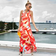 New Wave Dress - Sleeveless crew neck maxi dress that lightly gathers at the neck.