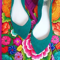 Ballet Flats Shoes Pointy Aqua Green Emerald  Exclusive Bespoke Custom Made Shoes  Pointy Flats, Italian leather   www.elehandmade.etsy.com