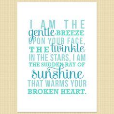 I am the gentle breeze- Digital Memorial Print (miscarriage, stillborn, infant, child loss)