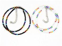 Beaded Braclets, Beaded Choker Necklace, Diy Necklace, Pulseras Kandi, Rainbow Choker, White Choker, Knit Bracelet, Handmade Beaded Jewelry, Jewelry Crafts
