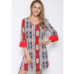 Mixed Aztec Print Ruffle Sleeve Dress Fabric is rayon & spandex. Available in sizes Small to 3X. Dresses
