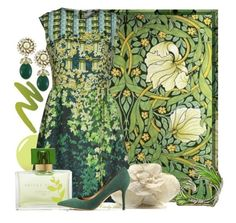 """Green Art Nouveau Tile"" by itscindylou ❤ liked on Polyvore featuring William Morris, Peter Pilotto, Bernard Delettrez, Hampton Sun, Chanel, NARS Cosmetics and Acne Studios"