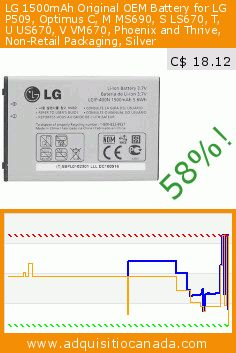 LG 1500mAh Original OEM Battery for LG P509, Optimus C, M MS690, S LS670, T, U US670, V VM670, Phoenix and Thrive, Non-Retail Packaging, Silver (Wireless Phone Accessory). Drop 58%! Current price C$ 18.12, the previous price was C$ 42.67. https://www.adquisitiocanada.com/oem/lg-optimus-series