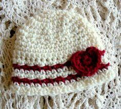Valentine baby girl hat in red and white Best by eveningasters,  http://etsy.me/A0wPRU via @Etsy