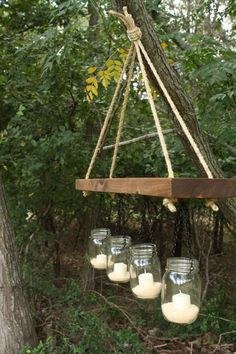 Indoor / Outdoor Mason Jar and Wood chandelier, candle holder Outdoor Chandelier, Candle Chandelier, Outdoor Lighting, Outdoor Gardens, Indoor Outdoor, Outdoor Decor, Diy Projects To Try, Wood Projects, To Infinity And Beyond