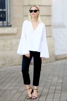 spring / summer - street style - street chic style - summer outfits - work outfits - casual outfits - business casual - office wear - black & white - comfy outfits - easy outfits - white bell sleeve top + black crop pants + black heeled sandals + black sunglasses