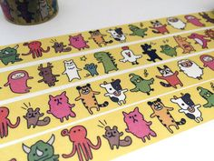 Animal friends tape 10M Forest animal WIDE washi tape cute creature red panda octopus Dinosaur zoo animal planner sticker diary gift