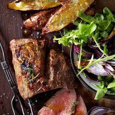 Fillet of Beef with roasted onions & rocket salad - Weber Recipes Weber Recipes, Braai Recipes, Prime Rib Recipe, Beef Fillet, Lamb Ribs, Roasted Onions, Roast Beef, Recipies