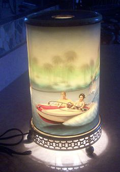 Vintage motion lamp - 1958 Econolite -Water Skier...my Grandmother, Mum, had this but the scene was the rolling falls of Niagra.