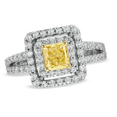 1-1/4 CT. T.W. Radiant-Cut Fancy Yellow and White Diamond Split Shank Engagement Ring in 14K White Gold