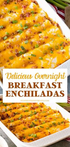 The perfect casserole recipe you can make ahead! Nothing beats waking up to delicious Overnight Breakfast Enchiladas, This breakfast idea is a fun twist on a regular load egg bake, loaded with sausage, eggs, cheese, and bacon. Great for spoiling your family in the mornings!
