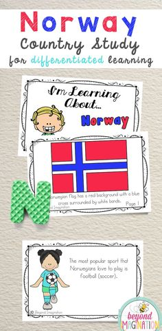 Norway Booklet Country Study Project Unit Norway Booklet Country Study Project Unit Rose throckmorton Culture Norway Fun Fact country study booklet is perfect to use nbsp hellip Norway Country, Kindergarten Special Education, Social Studies Projects, Norway Flag, World Thinking Day, Dramatic Play Centers, World Geography, History Projects, Classroom Activities